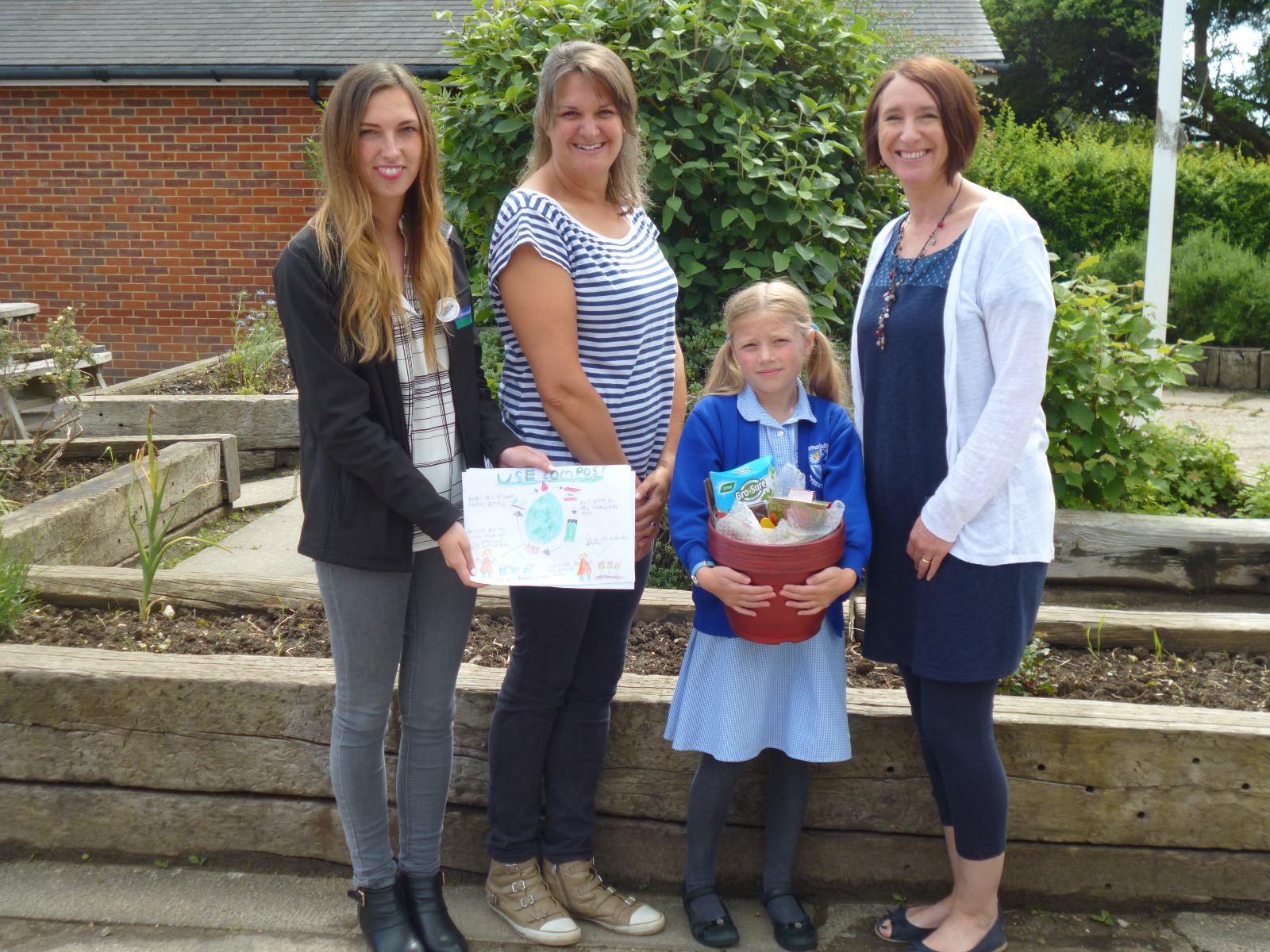 L-R Sophie Lindsay Ogg from WH, Mrs Carless, Bebe Duncan and Mrs Brownbill from Camelsdale Primary School